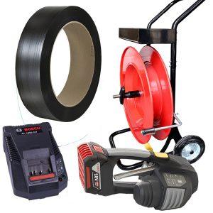 Flejadora de batería MB620  fleje de PP + carro porta fleje + batería + cargador