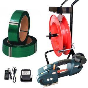 Juego de flejadora de batería TES para fleje de PET + carro porta fleje + batería + cargador