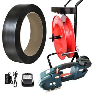 Juego de flejadora de batería TES para fleje de PP + carro porta fleje + batería + cargador